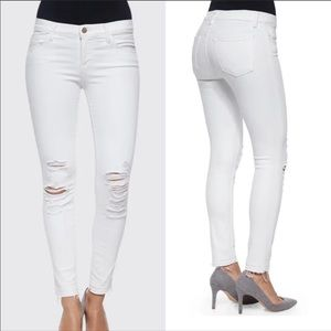J BRAND -  Cropped Frayed Demented Skinny Jeans